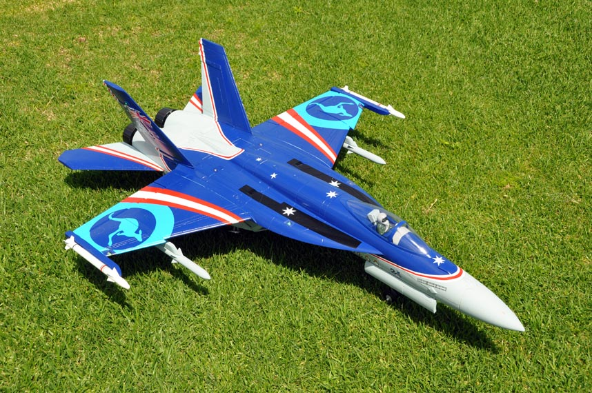Blue color F/A-18E Hornet V2 90mm EDF Thrust Vectoring Jet